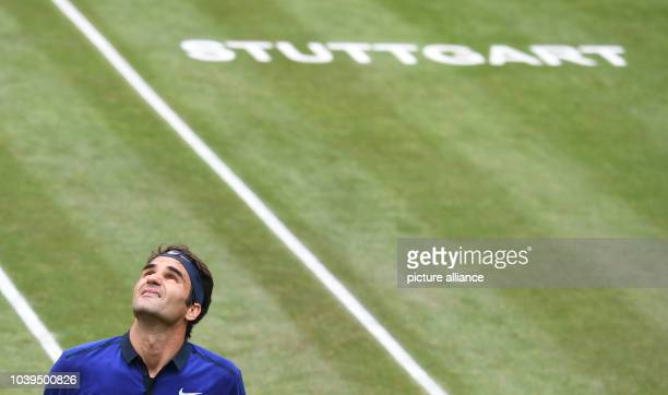 Roger Federer from Switzerland in action against Thiem from Austria during the semifinals at the ATP Tournament at Weissenhof in Stuttgart Germany 11...