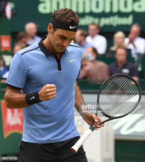 Roger Federer from Switzerland reacts during his match against Alexander Zverev from Germany at the final of the Gerry Weber Open tennis tournament...