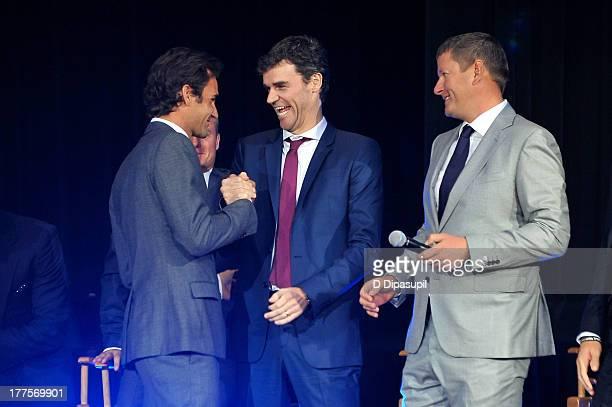 Roger Federer Gustavo Kuerten and Yevgeny Kafelnikov attend the ATP Heritage Celebration at The Waldorf=Astoria on August 23 2013 in New York City