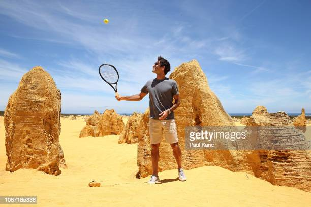 Roger Federer hits a ball at the Pinnacles Desert ahead of the 2019 Hopman Cup on December 27 2018 in Cervantes Australia