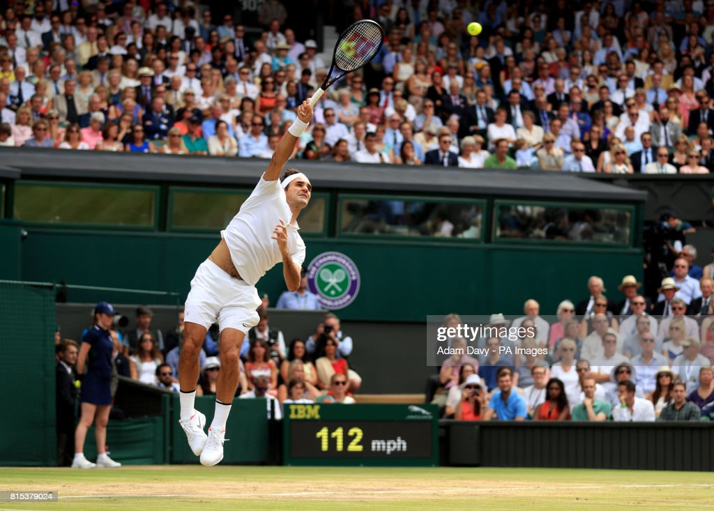 Roger Federer in action against Marin Cilic during the Gentlemen's Single's Final on day thirteen of the Wimbledon Championships at The All England Lawn Tennis and Croquet Club, Wimbledon.