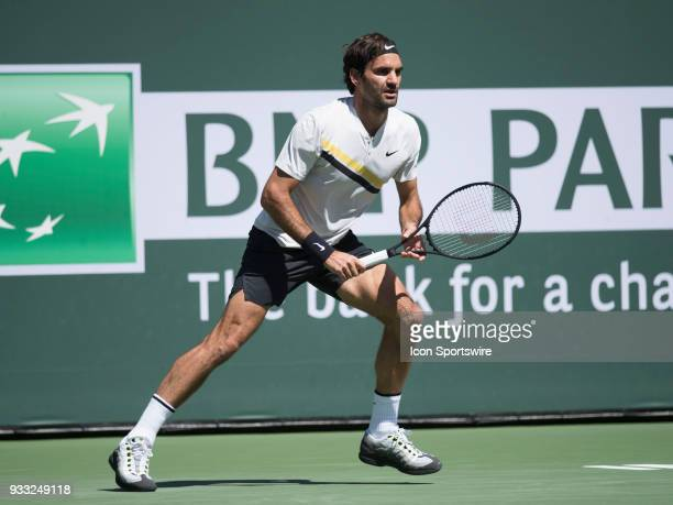 Roger Federer in action defeating Borna Coric in the men's singles semifinal on March 17 2018 at the BNP Paribas Open at the Indian Wells Tennis...