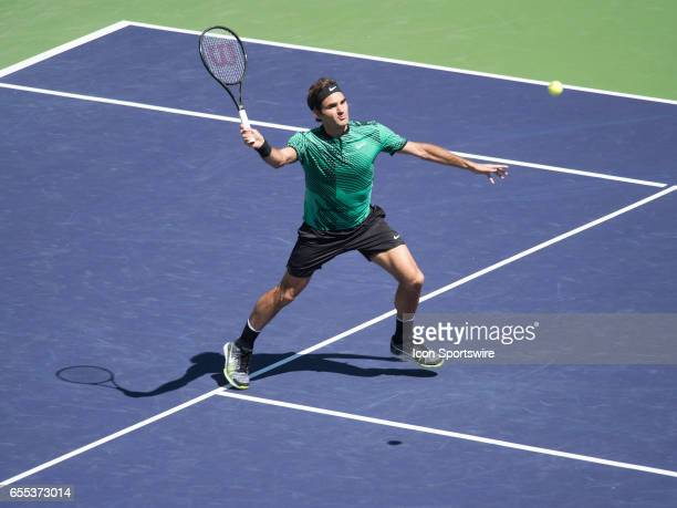 Roger Federer in action during his semi-final match during the BNP Paribas Open on March 18 at the Indian Wells Tennis Garden, Indian Wells, CA.