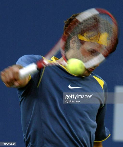 Roger Federer in action in his Men's Semifinals match at the 2005 US Open against Lleyton Hewitt, Federer beats Hewitt in four sets 6-3, 7-6, 4-6,...