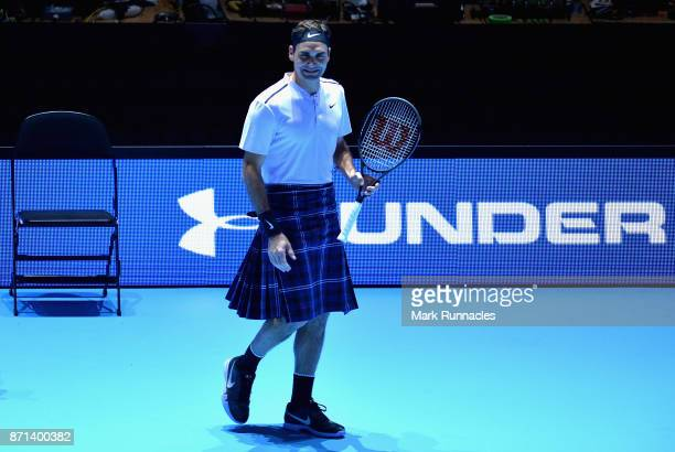 Roger Federer in action wearing a kilt during his match against Andy Murray during Andy Murray Live at The Hydro on November 7 2017 in Glasgow...