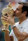 londonunited kingdom roger federer kisses trophy
