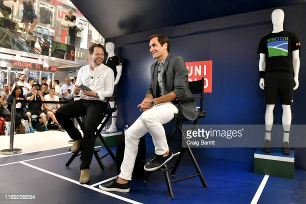 Roger Federer launches a new Uniqlo LifeWear Collection at the Uniqlo NYC Flagship with an appearance and an intimate conversation with moderator...