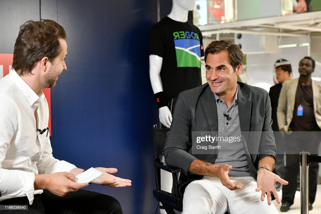 Roger Federer Launches New Uniqlo LifeWear Collection At Uniqlo NYC Flagship With Appearance And Intimate Conversation : News Photo