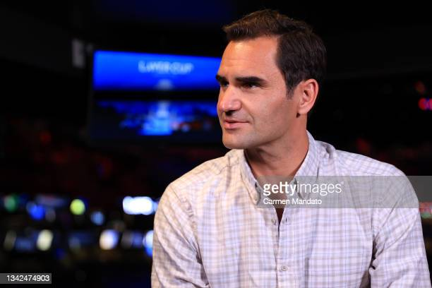 Roger Federer looks on during an interview with Andy Roddick during Day 2 of the 2021 Laver Cup at TD Garden on September 25, 2021 in Boston,...