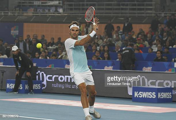 Roger Federer of Obi UAE Royals in action against Rafael Nadal of Micromax Indian Aces during the CocaCola International Premier Tennis League at IG...