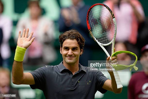 Roger Federer of Suisse celebrates after his round of 16 match against Florian Mayer of Germany during day four of the Gerry Weber Open at Gerry...