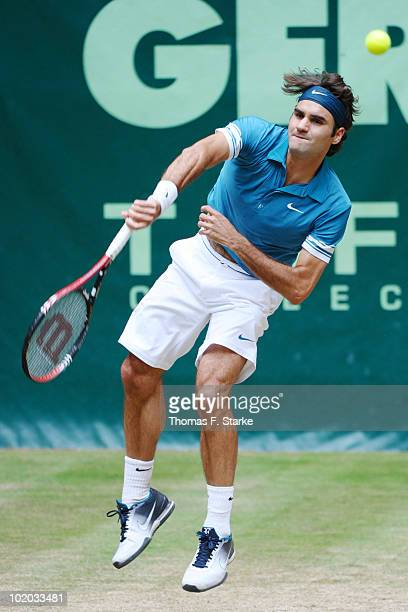 Roger Federer of Suisse in action during the final match against Lleyton Hewitt of Australia during the Gerry Weber Open at the Gerry Weber stadium...