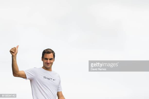 Roger Federer of Switzerland acknowledges the crowd after the Gentlemen's Final against Marin Cilic of Croatiaon day thirteen of the Wimbledon Lawn...