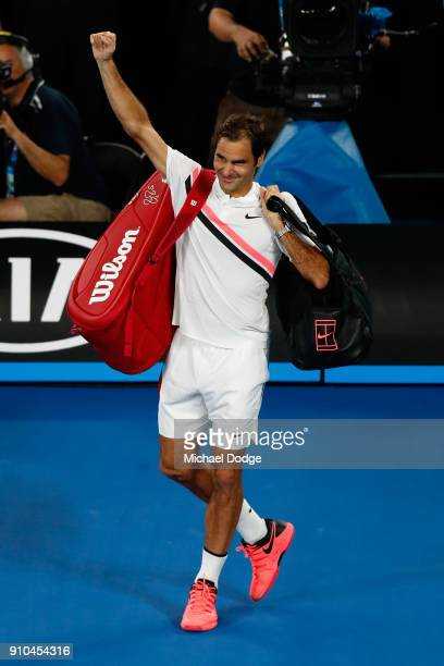 Roger Federer of Switzerland acknowledges the crowd after winning his semifinal match against Hyeon Chung of South Korea on day 12 of the 2018...