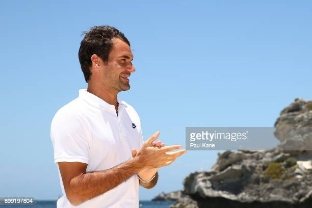 Roger Federer of Switzerland addresses the media at Rottnest Island ahead of the 2018 Hopman Cup on December 28 2017 in Perth Australia