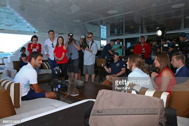 Roger Federer of Switzerland addresses the media on board Anya at Rottnest Island ahead of the 2018 Hopman Cup on December 28 2017 in Perth Australia
