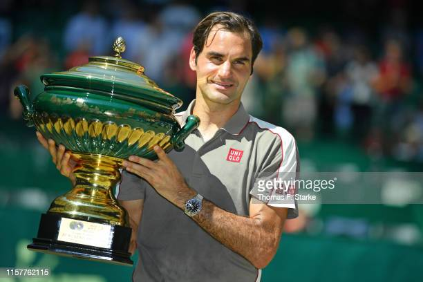 Roger Federer of Switzerland after winning the final match against David Goffin of Belgium during day 7 of the Noventi Open at Gerry Weber Stadium on...