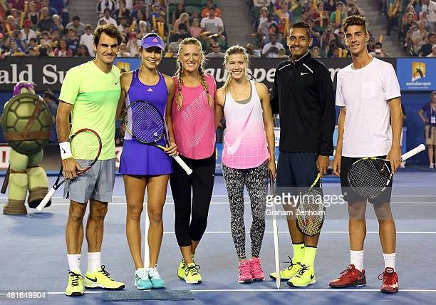 Roger Federer of Switzerland Ana Ivanovic of Serbia Victoria Azarenka of Belarus Eugenie Bouchard of Canada Nick Kyrgios of Australia and Thanasis...