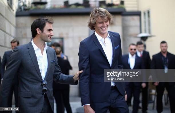 Roger Federer of Switzerland and Alexander Zverev of Germany reacts during a photoshoot ahead of the Laver Cup on September 20 2017 in Prague Czech...