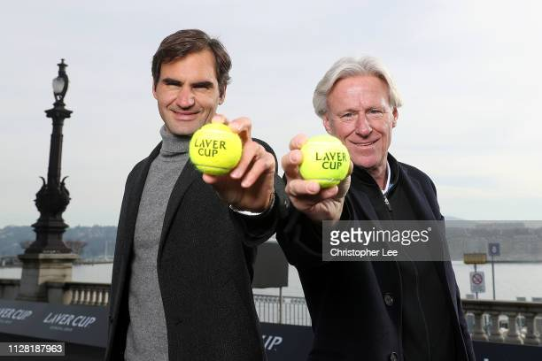 Roger Federer of Switzerland and Bjorn Borg, Captain of Team Europe pose for a photo on the black court at La Rotonde ahead of The Laver Cup Press...