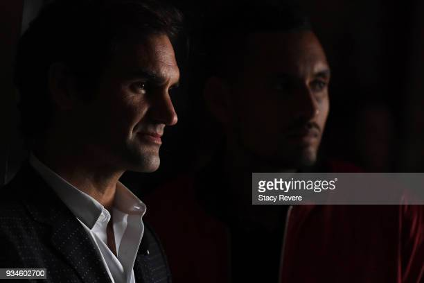 Roger Federer of Switzerland and Nick Kyrgios of Australia look on during a press conference at the Chicago Athletic Association during the Laver Cup...