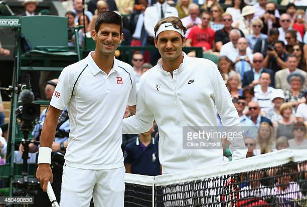 Roger Federer of Switzerland and Novak Djokovic of Serbia ahead of the Final Of The Gentlemen's Singles on day thirteen of the Wimbledon Lawn Tennis...