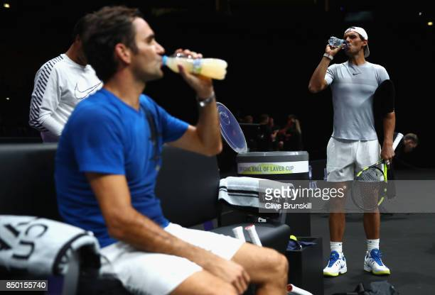 Roger Federer of Switzerland and Rafael Nadal of Spain cools down during a training session ahead of the Laver Cup on September 20 2017 in Prague...