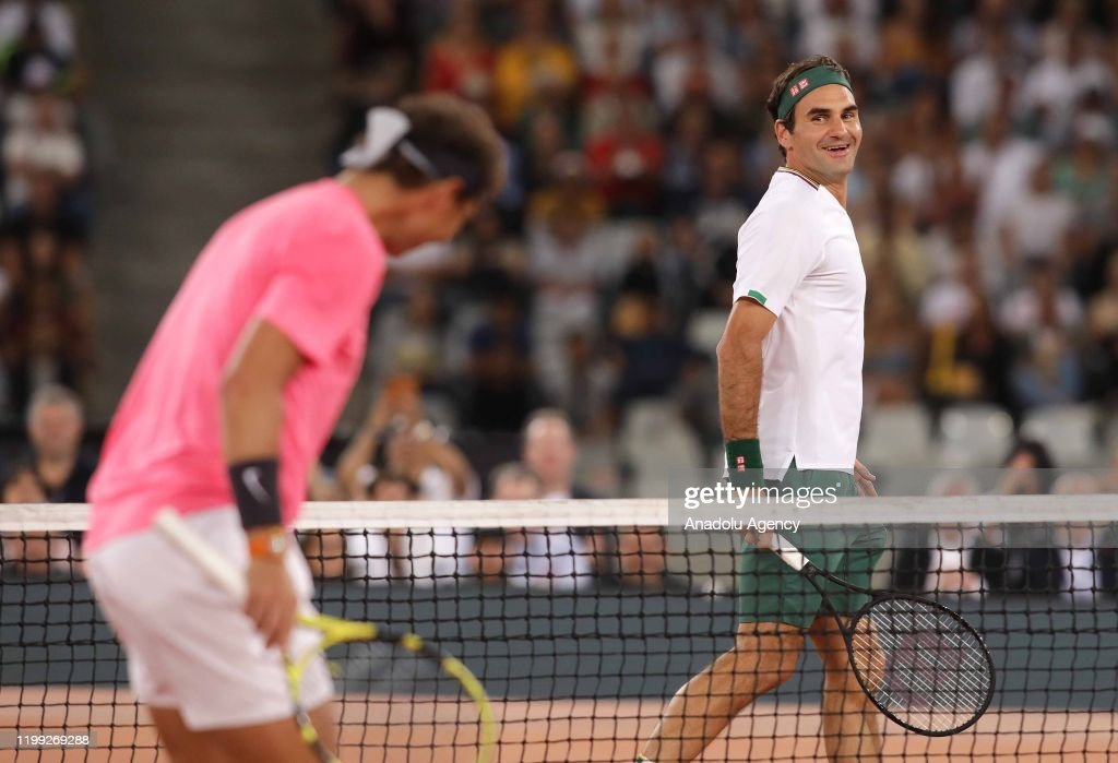 Roger Federer and Rafael Nadal in charity exhibition in Cape Town : News Photo