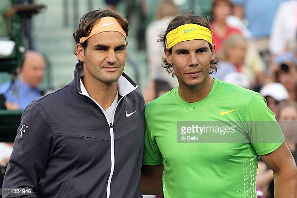 Roger Federer of Switzerland and Rafael Nadal of Spain pose for a photo at the net prior to their men's semifinal match during the Sony Ericsson Open...