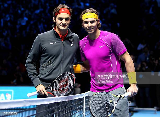 Roger Federer of Switzerland and Rafael Nadal of Spain pose on court before their men's final during the ATP World Tour Finals at O2 Arena on...