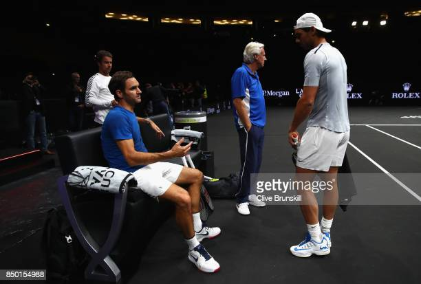 Roger Federer of Switzerland and Rafael Nadal of Spain speaks during a training session ahead of the Laver Cup on September 20 2017 in Prague Czech...