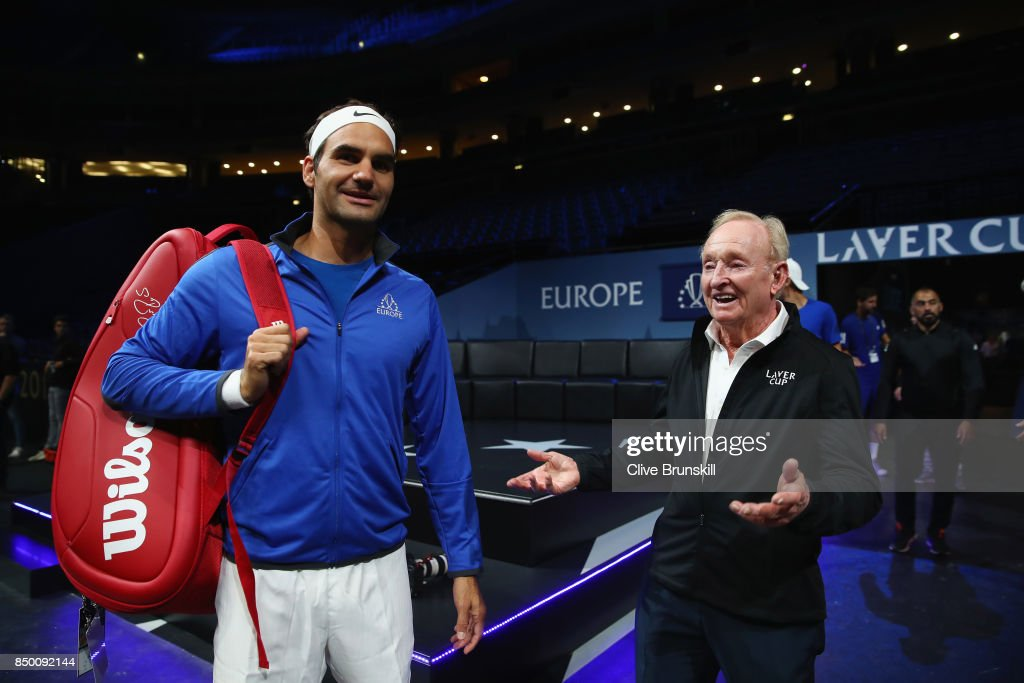 Roger Federer of Switzerland and Rod Laver speaks inside the arena ahead of the Laver Cup on September 20, 2017 in Prague, Czech Republic. The Laver Cup consists of six European players competing against their counterparts from the rest of the World. Europe will be captained by Bjorn Borg and John McEnroe will captain the Rest of the World team. The event runs from 22-24 September.