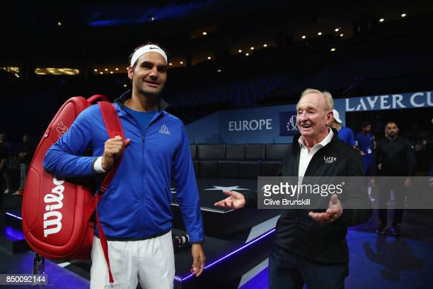 Roger Federer of Switzerland and Rod Laver speaks inside the arena ahead of the Laver Cup on September 20 2017 in Prague Czech Republic The Laver Cup...