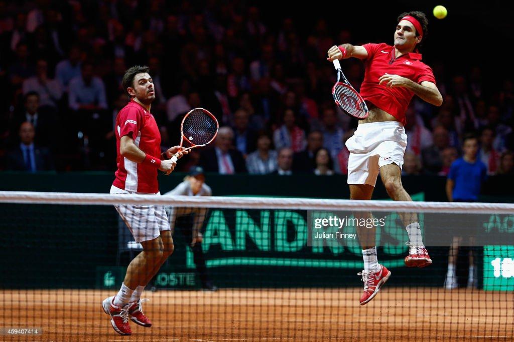 France v Switzerland - Davis Cup World Group Final: Day Two : Foto di attualità