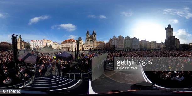 Roger Federer of Switzerland and Tomas Berdych of The Czech Republic pose in the Old Town Square during the countdown to the inaugural Laver Cup on...