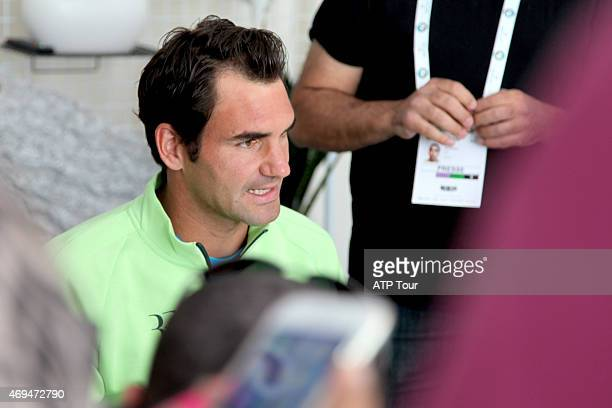 Roger Federer of Switzerland answers questions during the media roundtable before the MonteCarlo Rolex Masters on April 12 2015 in MonteCarlo Monaco