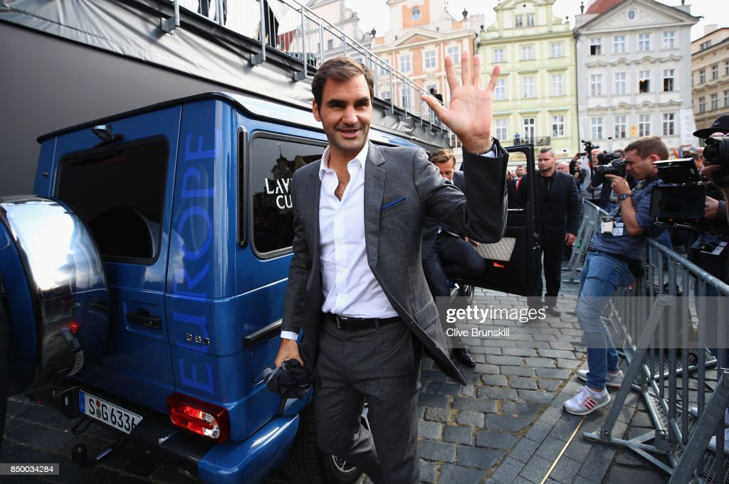 Roger Federer of Switzerland arrive ahead of the Laver Cup on September 20, 2017 in Prague, Czech Republic. The Laver Cup consists of six European players competing against their counterparts from the rest of the World. Europe will be captained by Bjorn Borg and John McEnroe will captain the Rest of the World team. The event runs from 22-24 September.