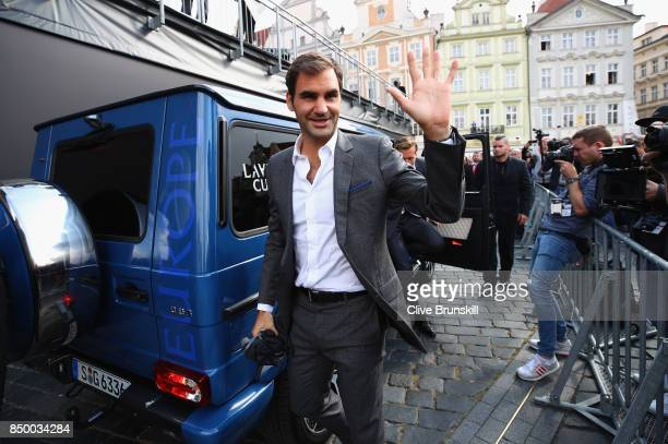 Roger Federer of Switzerland arrive ahead of the Laver Cup on September 20 2017 in Prague Czech Republic The Laver Cup consists of six European...