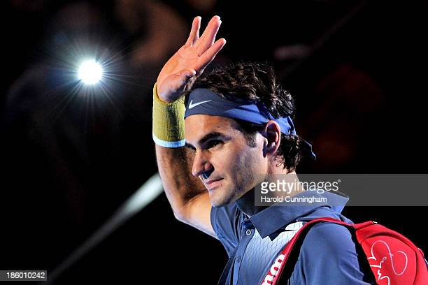 Roger Federer of Switzerland arrives on the court for his Swiss Indoors ATP Tennis final match against Juan Martin del Potro of Argentina at St...