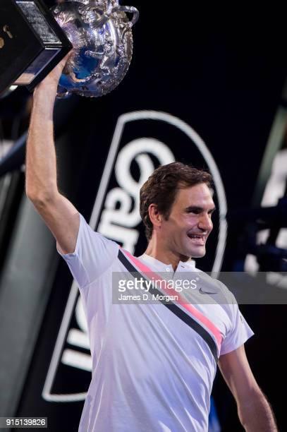 Roger Federer of Switzerland beats Marin Cilic of Croatia in the Australian Open men's tennis final on January 28 2018 in Melbourne Australia...