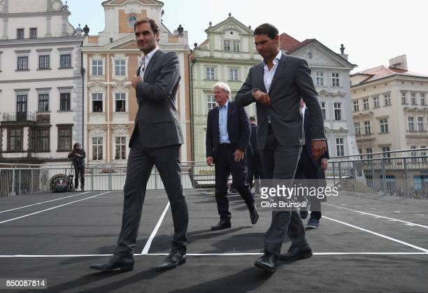 Roger Federer of Switzerland Bjorn Borg of Sweden and Rafael Nadal of Spain arrive to greet the fans ahead of the Laver Cup on September 20 2017 in...