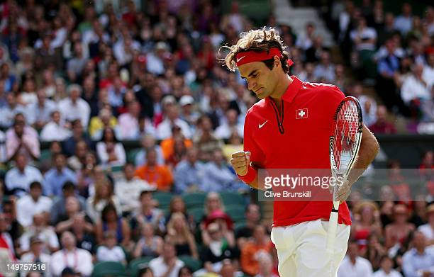 Roger Federer of Switzerland celebrates a point against Juan Martin Del Potro of Argentina in the Semifinal of Men's Singles Tennis on Day 7 of the...