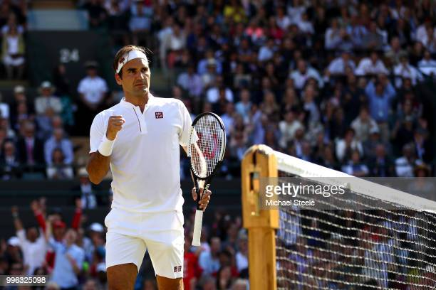 Roger Federer of Switzerland celebrates a point against Kevin Anderson of South Africa during their Men's Singles QuarterFinals match on day nine of...