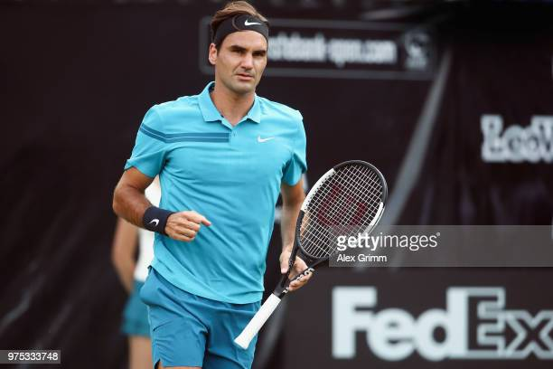 Roger Federer of Switzerland celebrates a point during his match against Guido Pella of Argentina during day 5 of the Mercedes Cup at Tennisclub...