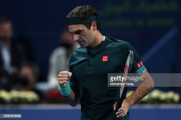 Roger Federer of Switzerland celebrates a point in his match against Dan Evans of Great Britain on Day 3 of the Qatar ExxonMobil Open at Khalifa...