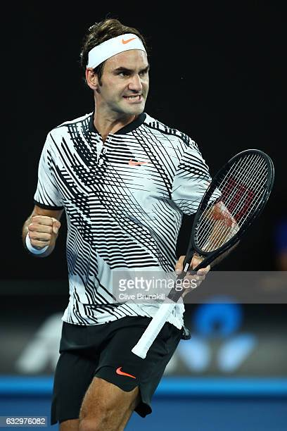 Roger Federer of Switzerland celebrates a point in his Men's Final match against Rafael Nadal of Spain on day 14 of the 2017 Australian Open at...