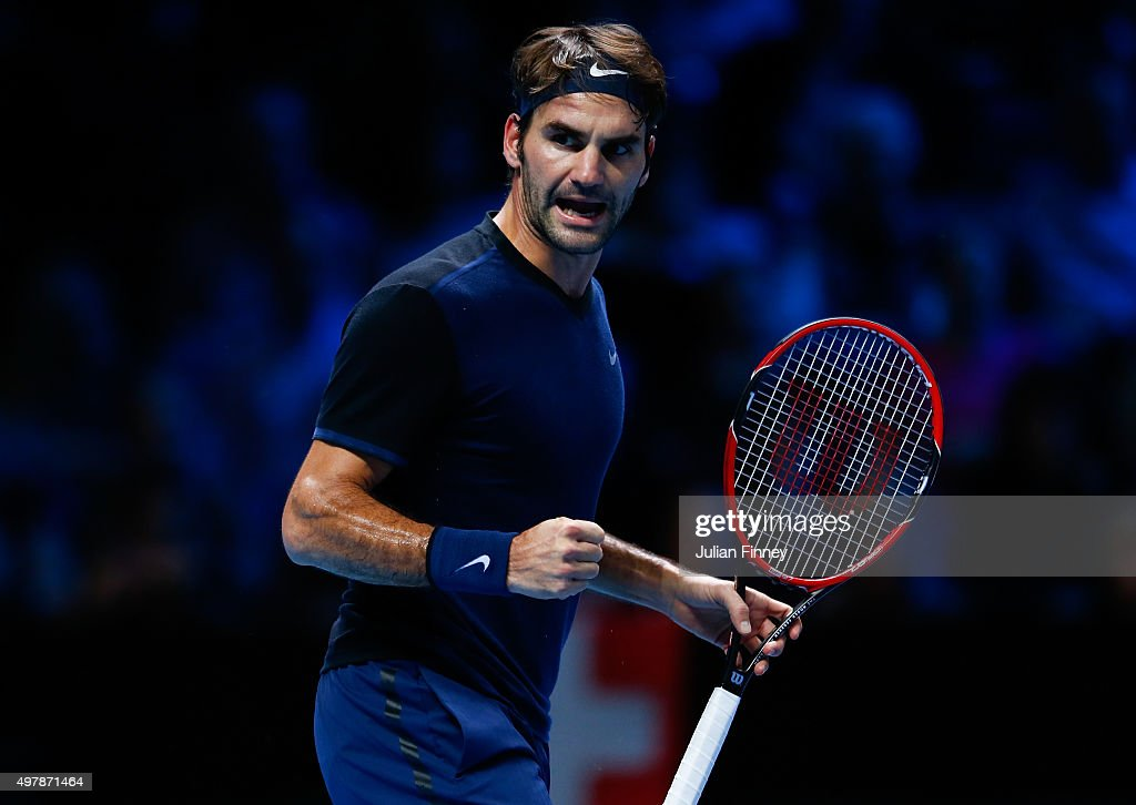 Roger Federer of Switzerland celebrates a point in his men's singles match against Kei Nishikori of Japan during day five of the Barclays ATP World Tour Finals at the O2 Arena on November 19, 2015 in London, England.
