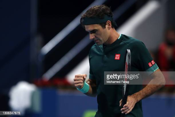 Roger Federer of Switzerland celebrates a point win in his match against Dan Evans of Great Britain on Day 3 of the Qatar ExxonMobil Open at Khalifa...