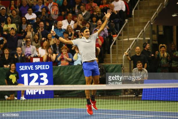 Roger Federer of Switzerland celebrates a win at the Match For Africa 4 exhibition match at KeyArena on April 29, 2017 in Seattle, Washington.