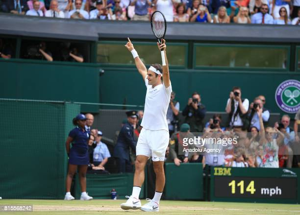 Roger Federer of Switzerland celebrates after beating Marin Cilic of Croatia in the men's final of the 2017 Wimbledon Championships at the All...
